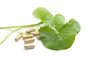 Herbal medicine from Centella asiatica isolated on white background