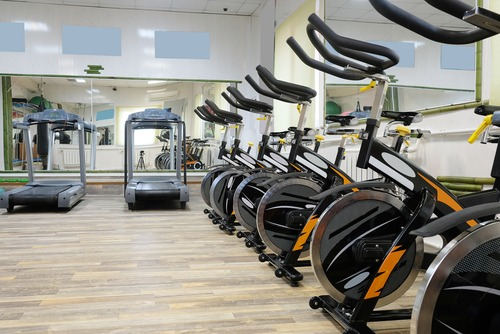 gym equipment, treadmill, stationary bike