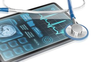 high tech medical tablet with patient stats and diagnostics