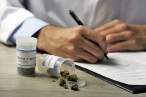 doctor writing prescription with dried medical cannabis