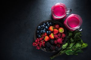 berries and smoothie filled with natural anti oxidants