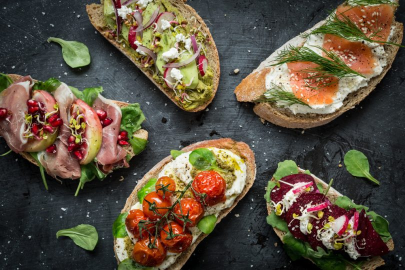 open faced sandwiches with nordic diet ingredients