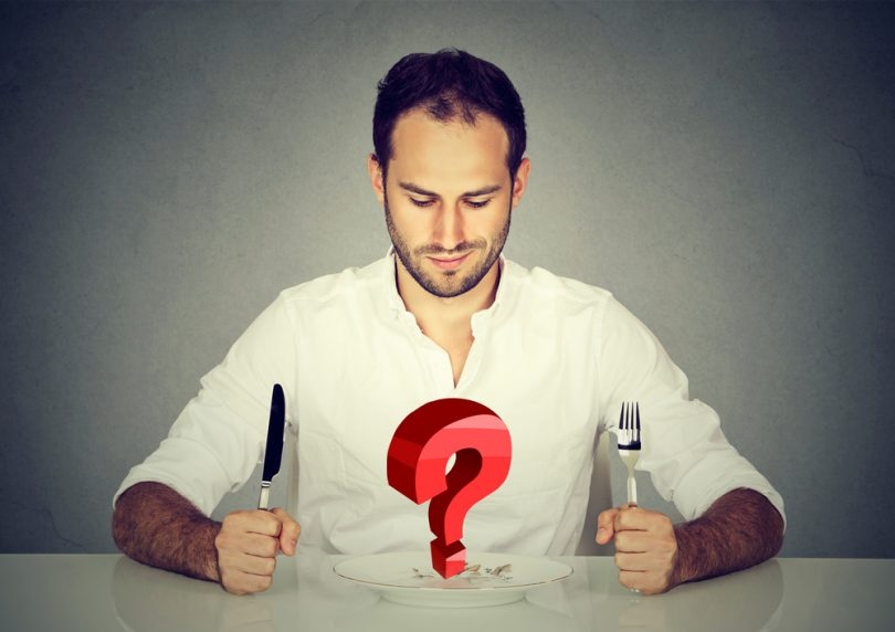 man holding cutlery with red question mark in front of him just heard about Progentra