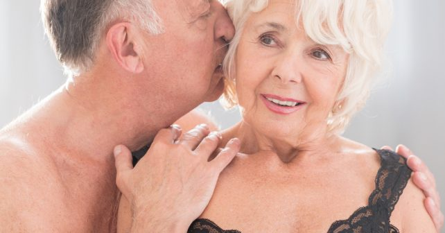 Old Couples Having An Intimate Affection