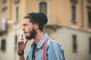 hipster smoking a cigarette