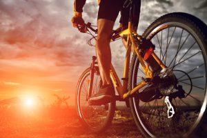 biking through sunset