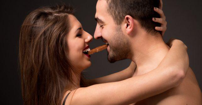 couple bites on chocolate